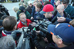Goldikova trainer Freddy Head is swarmed by members of the media after galloping the Turf Mile hopeful. Morning workouts in preparation for Breeder's Cup 2011 at Churchill Downs in Louisville Wednesday, Nov. 02, 2011. Photo by Jonathan Palmer