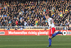 Football: Germany, 1. Bundesliga, Braunschweig, 15.02.2014<br /> Pierre-Michel Lasogga (Hamburger SV) goal celebration<br /> copyright: pixathlon