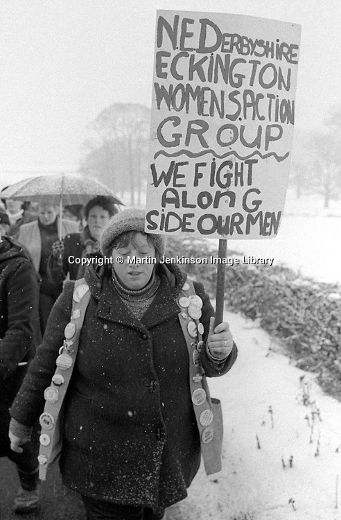 Women's march around the Derbyshire Coalfield during the 1984-85 miner's strike.