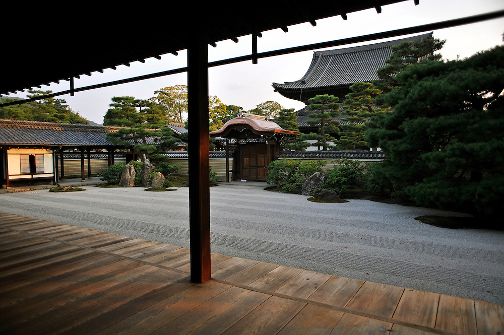 KENNIN-JI TEMPLE..Zen garden..Kennin-ji, considered to be one of the five great Zen temples of Kyoto, was founded in 1202. It is one of the Rinzai sect's headquarter temples.