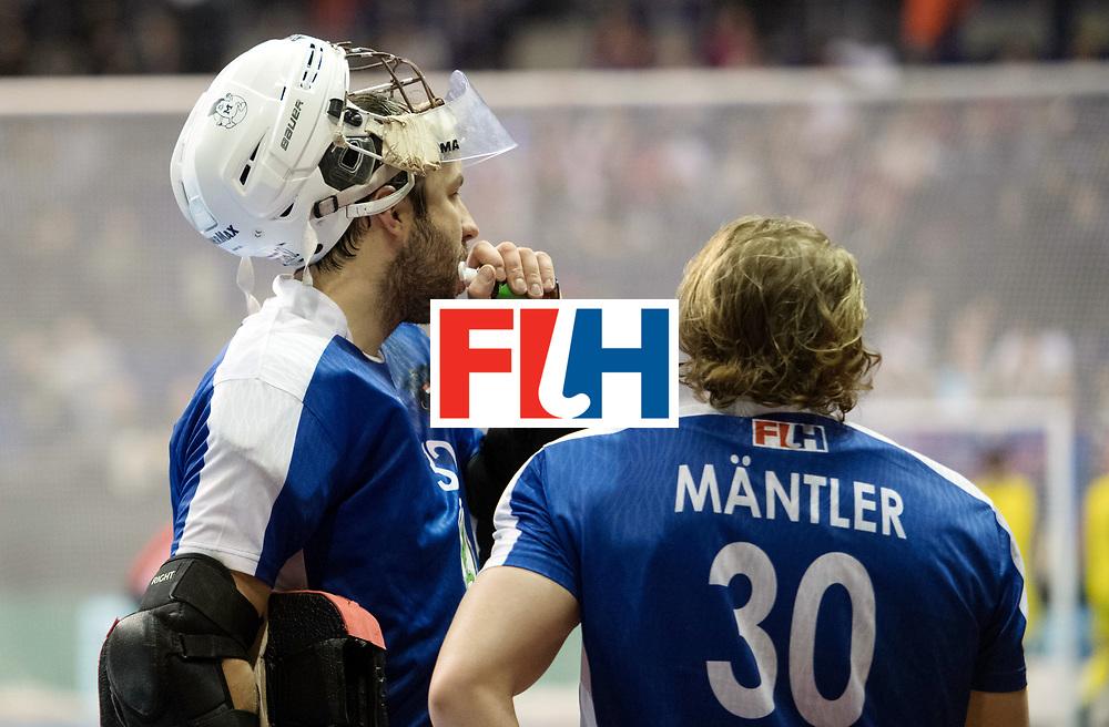 BERLIN - Indoor Hockey World Cup<br /> SF2 Australia - Austria<br /> foto: Mateusz Szymczyk (GK)  and Michael M&auml;ntler (GK)   <br /> WORLDSPORTPICS COPYRIGHT FRANK UIJLENBROEK