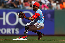 SAN FRANCISCO, CA - AUGUST 26: Rougned Odor #12 of the Texas Rangers fields a throw at second base to begin a double play against the San Francisco Giants during the fifth inning at AT&T Park on August 26, 2018 in San Francisco, California. The San Francisco Giants defeated the Texas Rangers 3-1. All players across MLB will wear nicknames on their backs as well as colorful, non-traditional uniforms featuring alternate designs inspired by youth-league uniforms during Players Weekend. (Photo by Jason O. Watson/Getty Images) *** Local Caption *** Rougned Odor