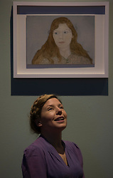The BP Portrait Award 2016, now in its 37th year and 27th year of sponsorship by BP, is firmly established as one of the most prestigious international portrait competitions in the world and the £30,000 first prize fee is one of the largest for any global art competition. Organised by the National Portrait Gallery in London, the exhibition of the top 53 entries, travels to Edinburgh and the Scottish National Portrait Gallery this November.<br /> <br /> Pictured: Clara Drummond (First Prize) with her portrait Girl In a Liberty Dress