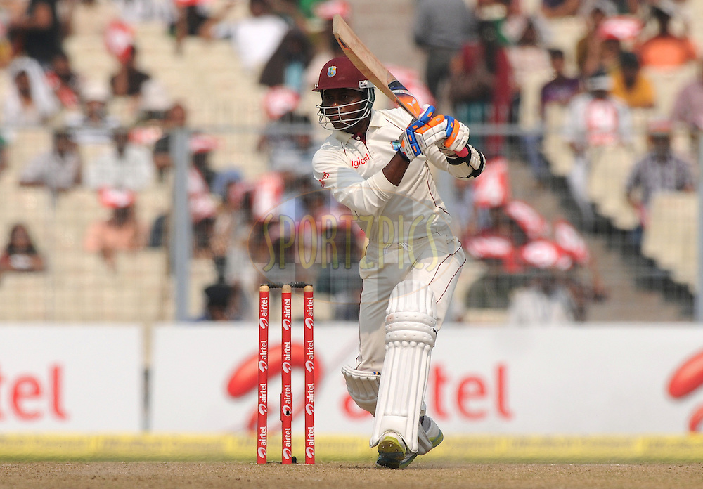 Marlon Samuels of West Indies bats during the 4th day of the 2nd test match between India and The West Indies held at Eden Gardens in Kolkata, India on the 17th November 2011..Photo by Pal Pillai/BCCI/SPORTZPICS.