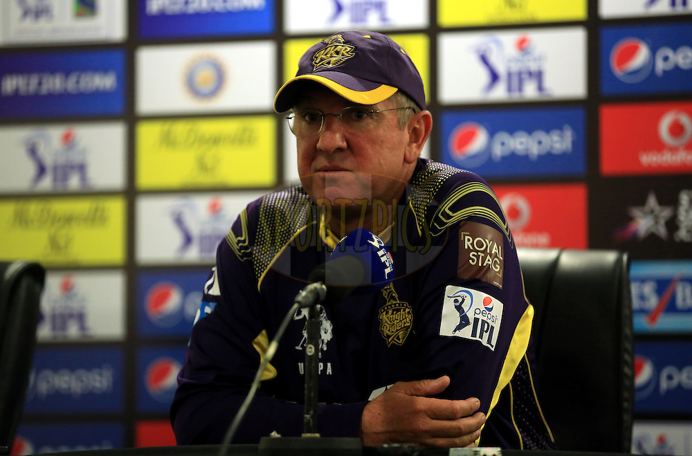 Kokatta Knight Riders Team Member during the press conference of the match 19 of the Pepsi Indian Premier League 2014 Season between The Kolkata Knight Riders and the Rajasthan Royals held at the Sheikh Zayed Stadium, Abu Dhabi, United Arab Emirates on the 29th April 2014<br /> <br /> Photo by Sandeep Shetty / IPL / SPORTZPICS