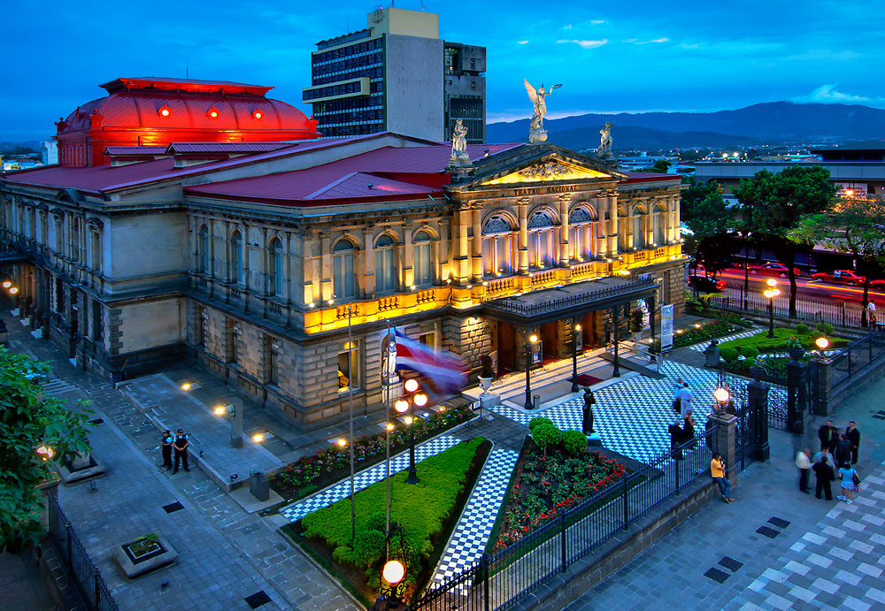 The National Theater of Costa Rica is considered the finest historical building in the capital city of San Jose. It opened in 1897 and is based on the architectural style of the Paris Opera House. The theater stands in the Plaza of Culture in the center of the city and is the center of cultural performances in Costa Rica.
