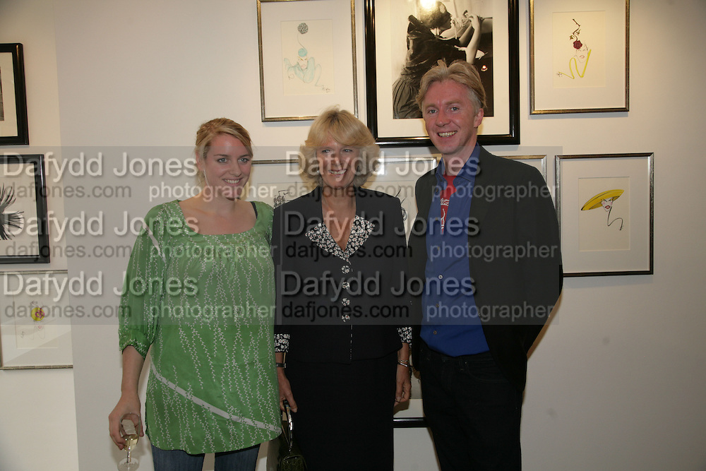 LAURA PARKER BOWLES, THE DUCHESS OF CORNWALL AND PHILIP TREACY  Norman Parkinson and Philip Treacy, an exhibition of photographs by Norman Parkinson and drawings by celebrated milliner Philip Treacy. ELEVEN Gallery. VICTORIA. LONDON. 3 July 2007.  -DO NOT ARCHIVE-© Copyright Photograph by Dafydd Jones. 248 Clapham Rd. London SW9 0PZ. Tel 0207 820 0771. www.dafjones.com.