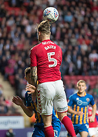 Football - 2017 / 2018 Sky Bet EFL League One - Play-Off Semi-Final, First Leg: Charlton Athletic vs. Shrewsbury Town<br /> <br /> Patrick Bauer (Charlton Athletic FC) leaps over James Bolton (Shrewsbury Town FC) at The Valley<br /> <br /> COLORSPORT/DANIEL BEARHAM