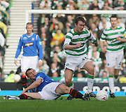 Aiden McGeady goes past Lee McCulloch during the League Cup final between Rangers and Celtic at Hampden Park -<br /> David Young