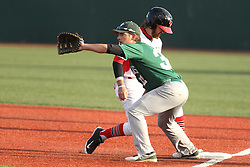 21 April 2015:  Mason Snyder hustles to first on a pitchout to Matthew Mardis during an NCAA Inter-Division Baseball game between the Illinois Wesleyan Titans and the Illinois State Redbirds in Duffy Bass Field, Normal IL