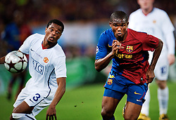 Samuel Eto'o, Barcelona, takes on Patrice Evra, Manchester United during the final of the UEFA football Champions League on May 27, 2009 at the Olympic Stadium in Rome.