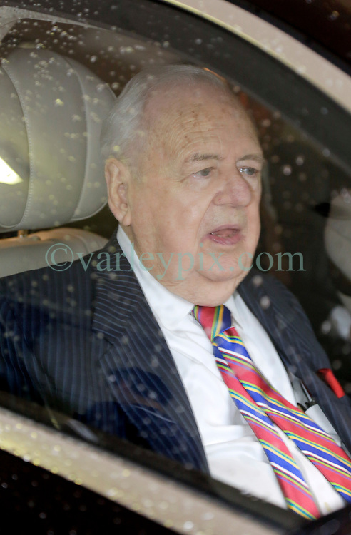 12 June  2015. New Orleans, Louisiana. <br /> Tom Benson, billionaire owner of the NFL New Orleans Saints, the NBA New Orleans Pelicans, various auto dealerships, banks, property assets and a slew of business interests leaves the New Orleans Civil District Court on the last day of the hearing to determine Benson's level of competency to manage his business empire. Benson changed his succession plans and  decided to leave the bulk of his estate to third wife Gayle, sparking a controversial fight over control of the Benson business empire.<br /> Photo&copy;; Charlie Varley/varleypix.com