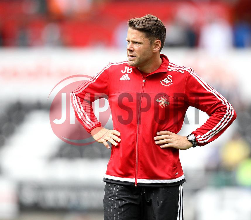 Swansea City coach James Beattie - Mandatory byline: Robbie Stephenson/JMP - 07966386802 - 15/08/2015 - FOOTBALL - Liberty Stadium -Swansea,England - Swansea City v Newcastle United - Barclays Premier League