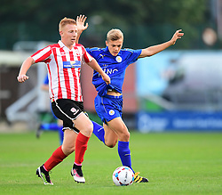 Lincoln City's Reece Robinson-Jones vies for possession with Leicester City's Kieran Dewsbury-Hall<br /> <br /> Lincoln City under 18s Vs Leicester City under 18s at Sincil Bank, Lincoln.<br /> <br /> Picture: Chris Vaughan/Chris Vaughan Photography<br /> <br /> Date: July 28, 2016