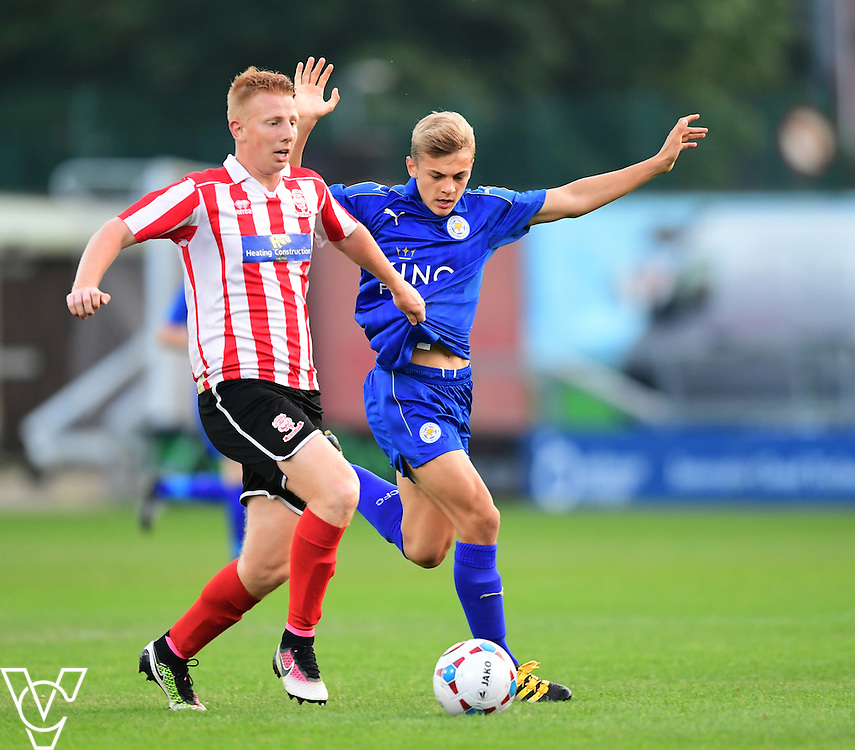 Lincoln City&rsquo;s Reece Robinson-Jones vies for possession with Leicester City&rsquo;s Kieran Dewsbury-Hall<br /> <br /> Lincoln City under 18s Vs Leicester City under 18s at Sincil Bank, Lincoln.<br /> <br /> Picture: Chris Vaughan/Chris Vaughan Photography<br /> <br /> Date: July 28, 2016