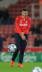 Stoke's Oussama Assaidi jokes during the warm up - Photo mandatory by-line: Dougie Allward/JMP - Mobile: 07966 386802 - 29/10/2014 - SPORT - Football - Stoke - Britannia Stadium - Stoke City v Southampton - Capital One Cup - Fourth Round