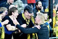 Fotball , 6. april 2019 ,  Eliteserien , Mjøndalen - Bodø/Glimt 4-5<br /> Geir Herrem , Glimt jubeler med fansen , publikum , illustrasjon