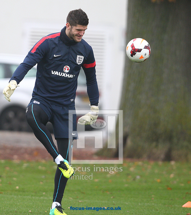 Picture by Paul Terry/Focus Images Ltd +44 7545 642257<br /> 18/11/2013<br /> Fraser Forster during England Training at London Colney, London.