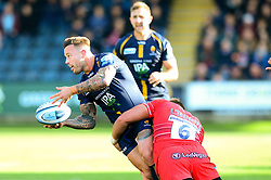 Francois Hougaard of Worcester Warriors is challenged by Hanro Liebenberg of Leicester Tigers - Mandatory by-line: Dougie Allward/JMP - 19/10/2019 - RUGBY - Sixways Stadium - Worcester, England - Worcester Warriors v Leicester Tigers - Gallagher Premiership Rugby