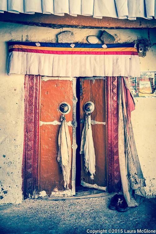 Kye Monastery India Ancient Doorway Spiti Lahual Valley