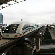 Shanghai, China: The Shanghai Maglev Train is the first commercially operated high speed magnetic levitation train in the world connecting Shanghai Pudong International Airport and the outskirts of Pudong..  Jose More Photography