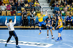 Gal Marguč of RK Celje Pivovarna Lasko with Dean Bombac of MOL Pick Szeged during handball match between RK Celje Pivovarna Lasko (SLO) and of MOL Pick Szeged (HUN) in 9th Round of EHF Champions League 2019/20, on November 24, 2019 in Arena Zlatorog, Celje, Slovenia. Photo Grega Valancic / Sportida