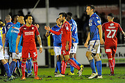 Michael Doughty (7) of Swindon Town goes to shake hands with an Eastleigh player after the final whistle which saw the match finish 1-1 during the The FA Cup match between Eastleigh and Swindon Town at Arena Stadium, Eastleigh, United Kingdom on 4 November 2016. Photo by Graham Hunt.