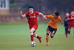WOLVERHAMPTON, ENGLAND - Tuesday, December 19, 2017: Liverpool's Curtis Jones and Wolverhampton Wanderer's Diego Lattie during an Under-18 FA Premier League match between Wolverhampton Wanderers and Liverpool FC at the Sir Jack Hayward Training Ground. (Pic by David Rawcliffe/Propaganda)