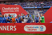 Portsmouth celebrate winning the Checkatrade EFL Trophy during the EFL Trophy Final match between Portsmouth and Sunderland at Wembley Stadium, London, England on 31 March 2019.