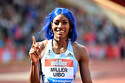 Shaunae Miller-Uibo (BAH) after winning the 200m wines race in a time of 22.24 during the Birmingham Grand Prix, Sunday, Aug 18, 2019, in Birmingham, United Kingdom. (Steve Flynn/Image of Sport via AP)