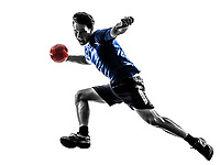 one  young man exercising handball player in silhouette studio on white background