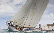 Image licensed to Lloyd Images <br /> The Royal Yacht Squadron Bicentenary Regatta . Pictures of the classic yacht Mariquita shown here racing around the Isle of Wight as part of the 200th anniversary sailing week.<br /> Credit: Lloyd Images
