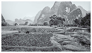 Ploughed field, Guangxi provence, China, selenium monochrome