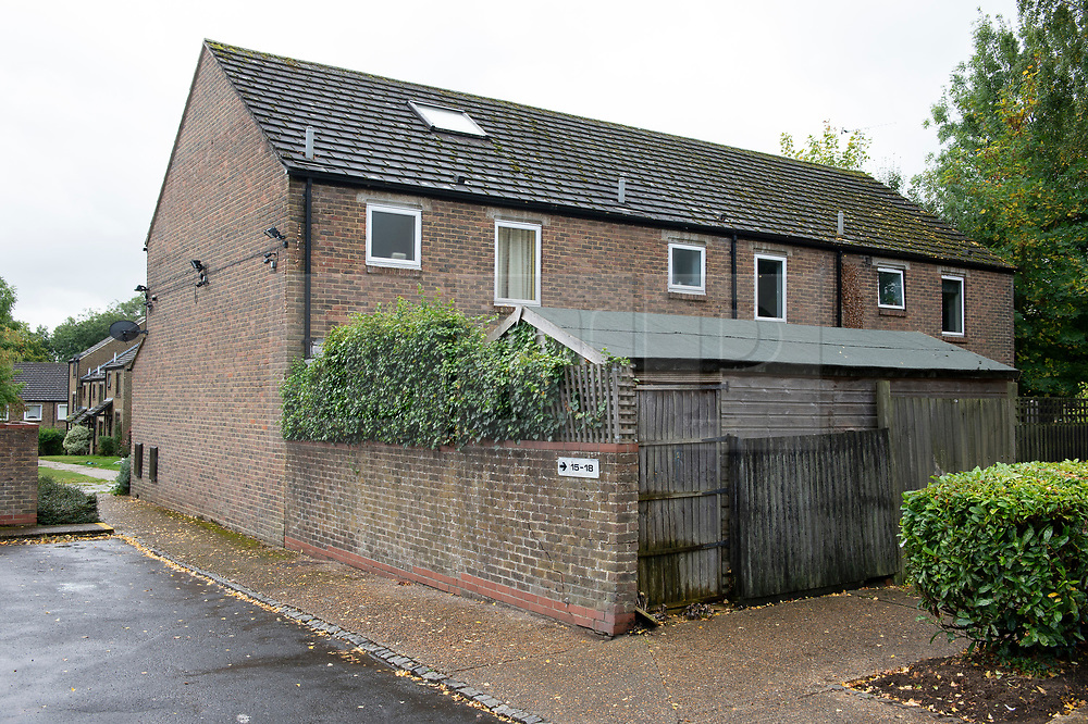 ©Licensed to London News Pictures 27/09/2019.<br /> New Ash Green ,UK. Rear of the house. Sarah Wellgreen's house at Bazes Shaw, New Ash Green in Kent has the curtains drawn in the middle of the day and a new front door after the police forced entry last year. The mother of five has never been found, she disappeared in October 2018. Former partner Ben Lacomba (38) is due to stand trial for her murder next week. Photo credit: Grant Falvey/LNP