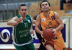 Kostomaj Tadej and Miha Cmer at 12th Round of UPC League basketball match between KK Luka Koper and KK Zlatorog Lasko, on May 2, 2009, in Arena Bonifika, Koper, Slovenia. Zlatorog won the match 72:71. (Photo by Vid Ponikvar / Sportida)