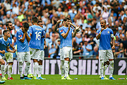 Manchester City players show the tension during the penalty shoot out during the FA Community Shield match between Manchester City and Liverpool at Wembley Stadium, London, England on 4 August 2019.