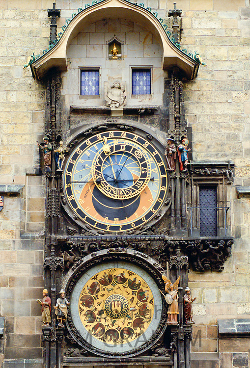 The astronomical clock on the Old Town Hall in Prague, Czech Republic