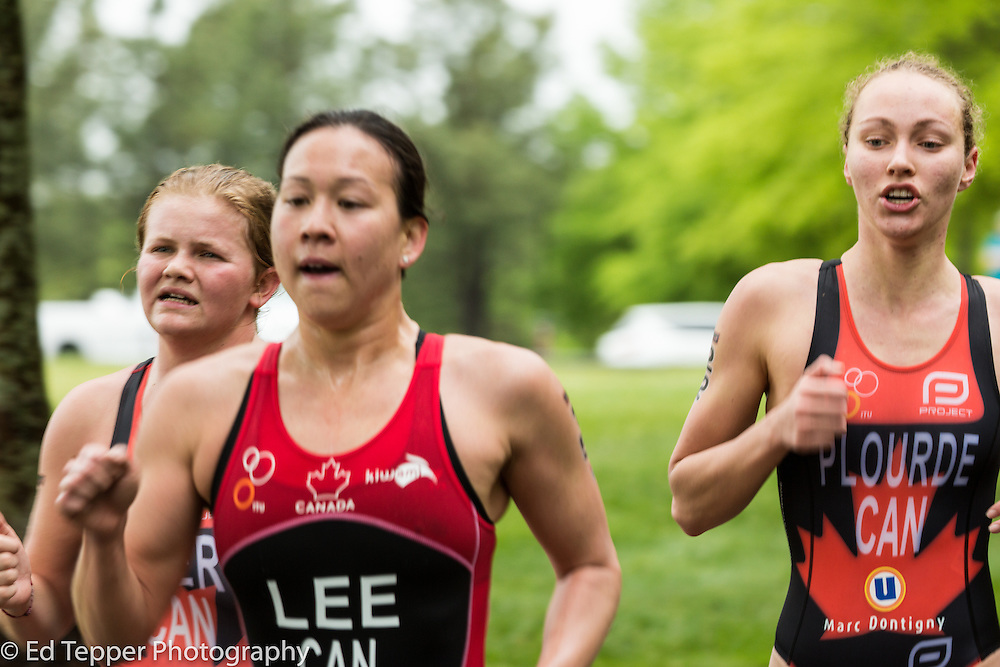 Three Canadian triathletes racing together