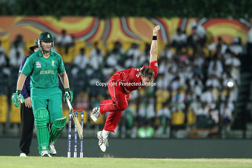 Kyle Jarvis during the ICC World Twenty20 Pool C match between South Africa and Zimbabwe held at the MAHINDA RAJAPAKSA INTERNATIONAL CRICKET STADIUM in Hambantota, Sri Lanka on the 20th September 2012<br /> <br /> Photo by Ron Gaunt/SPORTZPICS