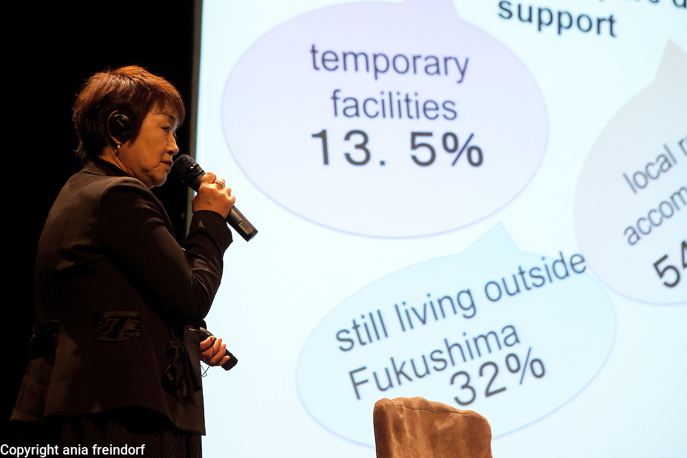 "Conference ""Fukushima, nuclear accident - four years later"", Green Cross Paris, France, Yoshiko Aoki, victim of the Fukushima accident,"