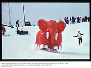 Tommy Leigh-Pemberton chasing Elephant down ski slope. Dangerous Sports club Ski Race. St. Moritz.  1986<br />