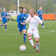 21120413 - IEPER, BELGIUM : England's  Molly Bartrip (2)  controls the ball during the Second qualifying round of U17 Women Championship between England and Iceland on Friday April 13th, 2012 in Ieper, Belgium.