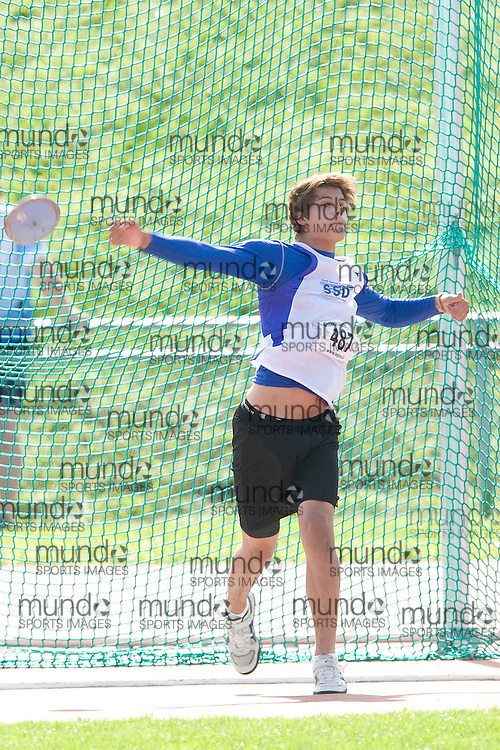 (Sherbrooke, Quebec---10 August 2008) Justin Massar competing in the youth boys discus at the 2008 Canadian National Youth and Royal Canadian Legion Track and Field Championships in Sherbrooke, Quebec. The photograph is copyright Sean Burges/Mundo Sport Images, 2008. More information can be found at www.msievents.com.