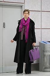 © Licensed to London News Pictures . 09/02/2015 . Manchester , UK . LIBBY LANE , the Bishop of Stockport , carries out her first public engagement since being ordained as the first woman Bishop in the Church of England . Bishop Libby Lane meets victims of human trafficking at Manchester Airport's Terminal 2 Arrival Lounge and speaks in support of efforts to clamp down on human trafficking . Photo credit : Joel Goodman/LNP