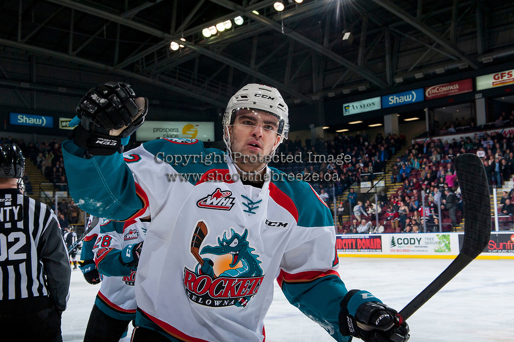 KELOWNA, CANADA - MARCH 7:  Erik Gardiner #12 of the Kelowna Rockets celebrates the opening goal during first period against the Vancouver Giants on March 7, 2018 at Prospera Place in Kelowna, British Columbia, Canada.  (Photo by Marissa Baecker/Shoot the Breeze)  *** Local Caption ***