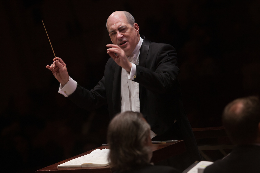 Music Director and Conductor Robert Spano with Baritone Stephen Powell and Tenor Thomas Cooley with the Atlanta Symphony Orchestra and Chorus performing Benjamin Britten's War of Requiem at Carnegie Hall in New York, NY on April 30, 2014.