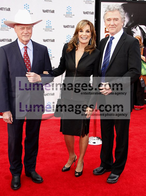 Larry Hagman, Linda Gray and Patrick Duffy at the 2012 TCM Classic Film Festival Gala Screening of 'Cabaret' held at the Grauman's Chinese Theater in Hollywood on April 12, 2012.