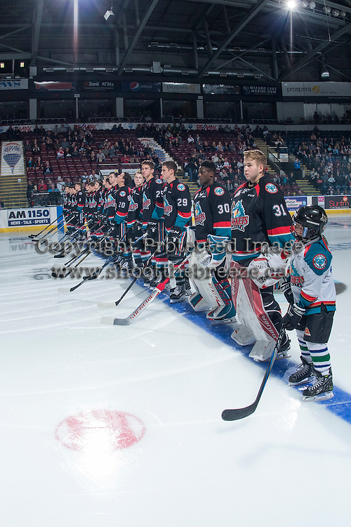 KELOWNA, CANADA - SEPTEMBER 24: The Kelowna Rockets and the Pepsi Player line up during home opener against the Kamloops Blazers on September 24, 2016 at Prospera Place in Kelowna, British Columbia, Canada.  (Photo by Marissa Baecker/Shoot the Breeze)  *** Local Caption *** Pepsi Player;
