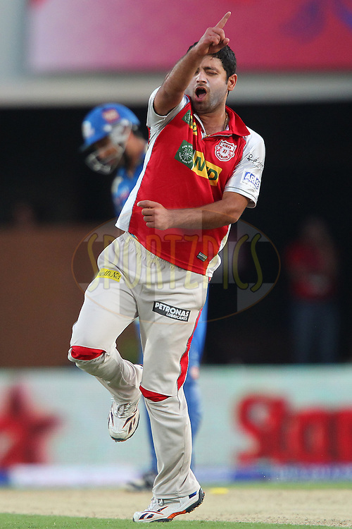 Rohit Sharma is clean bowled by Piyush Chawla during match 69 of the Pepsi Indian Premier League between The Kings XI Punjab and the Mumbai Indians held at the HPCA Stadium in Dharamsala, Himachal Pradesh, India on the on the 18th May 2013..Photo by Ron Gaunt-IPL-SPORTZPICS ..Use of this image is subject to the terms and conditions as outlined by the BCCI. These terms can be found by following this link:..http://www.sportzpics.co.za/image/I0000SoRagM2cIEc