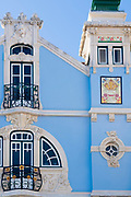 The ornate Museu Arte Nova - Modern Art Museum and Casa de Cha with ceramic tiles and traditional balconies - in Aveiro, Portugal